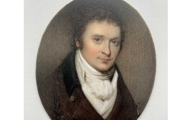 Portrait Miniature A finely painted portrait on ivory of a g...