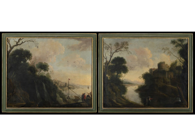Roman school, 18th century Landscape with merchants and sailing ship; Landscape with ruins and figures near a river Pair…Read more