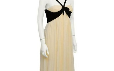 Sarmi Cream and black velvet gown