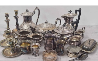 Selection of silver plated table wares including four piece ...