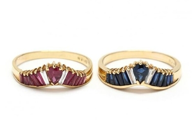 Two Gold and Gem-Set Rings, LeVian