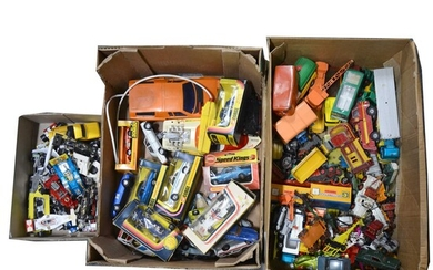 Two boxes and a tray of die-cast models, mostly Corgi, Matchbox, Dinky and other makers