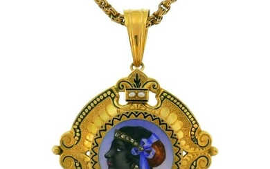 Victorian Enamel Painting Gold Pin Brooch Necklace