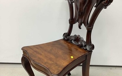 Victorian mahogany hall chair with pierced carved shield shape back on cabriole front legs