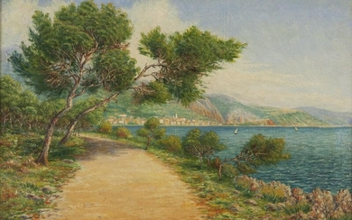 """Walfield """"View of Menton"""" oil on canvas."""