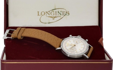 Wristwatch: rare oversize steel chronograph, Longines 30CH Ref.7413 Flyback, with original box and certificate, sold 1966