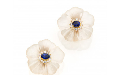 Yellow gold floral earrings with hyaline quartz, diamonds and sapphires, g 20.09 circa, length cm 3.00 circa. French import mark.Read more