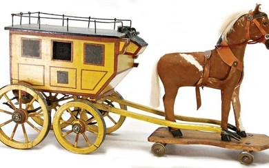 stagecoach, wood, colored , 1900, draft horse, pelt