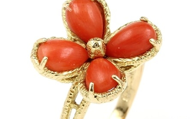 18 kt gold blossom ring with coral ,...