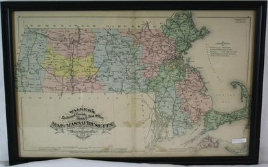 1879 WALKERS COLORED MAP OF MASSACHUSETTS