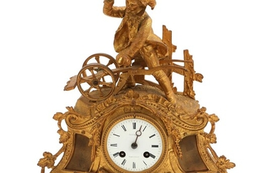 NOT SOLD. A 19th century French bronze colour metal mantel clock, surmounted by a farmer. Couturier Rambouillet. H. 35 cm. – Bruun Rasmussen Auctioneers of Fine Art