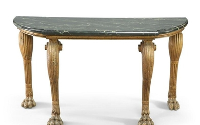 A CARVED AND GILDED MARBLE-TOPPED CONSOLE TABLE
