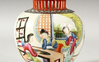 A CHINESE REPUBLIC PORCELAIN VASE, painted with female figur...