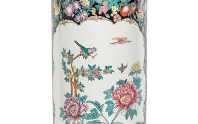 A Chinese Enameled Porcelain Umbrella Stand
