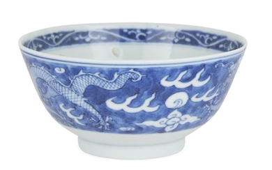 A Chinese blue and white porcelain 'dragon' bowl, Republic period, painted to the exterior with two five-clawed dragons chasing flaming pearls, the interior with another dragon and flaming pearl, underglaze blue four-character mark within double...