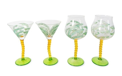 A Contemporary Engraved and Enameled Glass Palm Tree