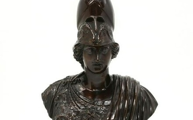 A Continental bronze bust of Athena Giustiniani