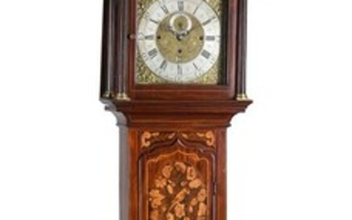 A DECORATIVE MAHOGANY AND FLORAL MARQUETRY QUARTER-CHIMING EIGHT-DAY LONGCASE CLOCK