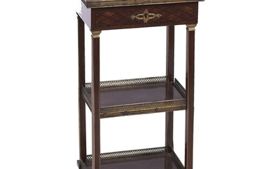 A French brass mounted rosewood and ebony line inlaid displa...
