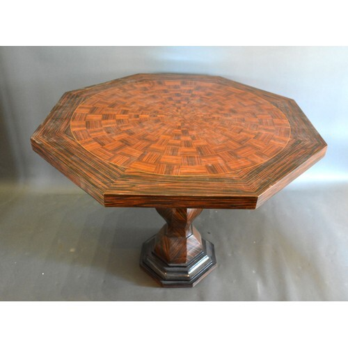 A French style inlaid large octagonal centre table, the inla...