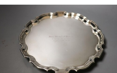 A George VI silver salver , with engraved inscription, Adie ...