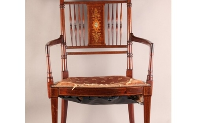 A LATE VICTORIAN MAHOGANY BEDROOM ELBOW CHAIR, boxwood strun...