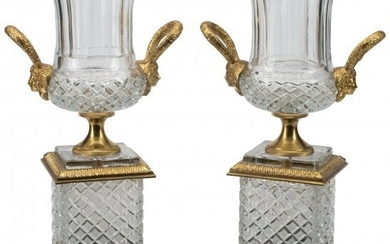 A Pair of Baccarat-Style Cut Glass Urns with Gil