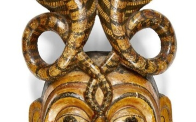A South Indian papier mache wood dance mask, Kerala, India, late 19th-early 20th century, 31.5cm. high Provenance: Private Collection of Werner Forman (1921-2010); acquired 1991 from Allan and Karen Beagle.