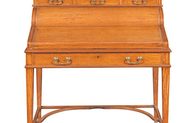 A Victorian satinwood, rosewood crossbanded and purplewood line-inlaid writing desk or cylinder bureau