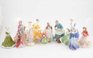 A collection of twelve bone china figurines