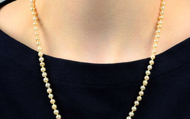 A graduated natural pearl single-strand necklace, with old-cut diamond clasp.