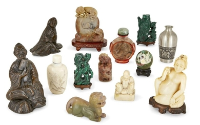A group of Chinese and Japanese items, 18th - early 20th century, to include two malachite carvings with fitted stands, two Japanese bronze figures, a Chinese ivory doctor's doll with fitted stand, an inside painted snuff bottle with hardstone...