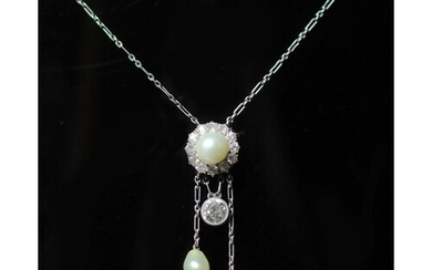 A late Victorian gold and platinum, diamond and pearl set dr...