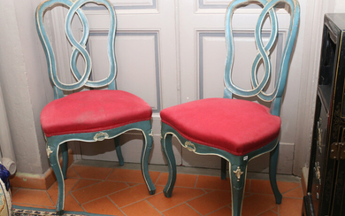 A pair of pale blue lacquered chairs