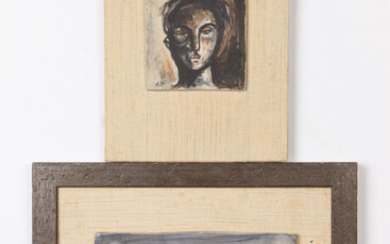 AMERICAN SCHOOL (20th century). HEAD STUDY and LANDSCAPE: TWO WORKS,...