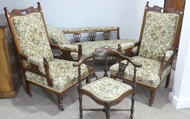 An associated four piece suite of Edwardian furniture, of si...