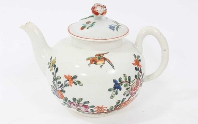 An early Worcester teapot, circa 1754-55, polychrome painted in the Chinese style, with non-matching cover, 12cm high