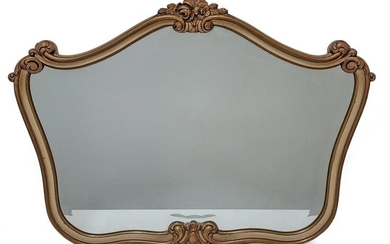 Antique French Louis XV style beveled glass wall mirror