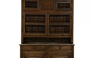 Antique French Walnut Step Back Cabinet