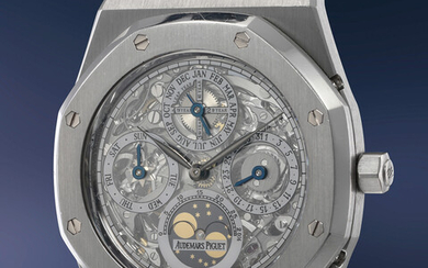 Audemars Piguet, Ref. 25829PT An incredibly attractive, hefty platinum skeletonized perpetual calendar wristwatch with moonphases, bracelet, presentation box and guarantee