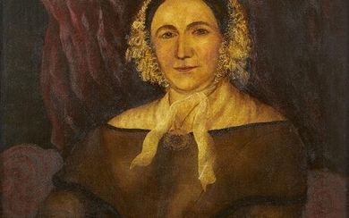British School, early/mid 19th century- Portrait of a lady; Oil on canvas, bears label for Geo. Wilkinson & Son, Sheffield, on the reverse, 76.5x63.5cm
