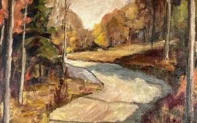 C. 1940s Country Road Impressionist Painting