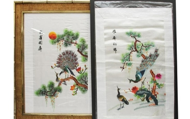 CHINESE PAIR OF SILK COLORED EMBROIDERY PEACOCKS