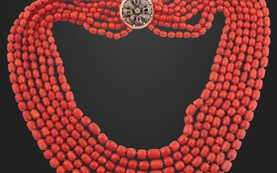 CORAL NECKLACE WITH DIAMOND, SAPPHIRE, GOLD AND SILVER CLASP
