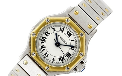 Cartier Stainless Steel and Gold 'Santos' Wristwatch
