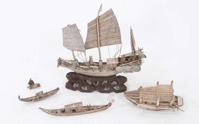 Early 20th century white metal model of an armed Chinese Junk, and other items