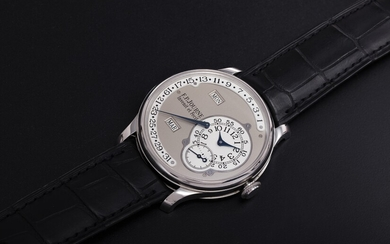 F. P. JOURNE, A PLATINUM ANNUAL CALENDAR WRISTWATCH WITH RETROGRADE DATE INDICATION, OCTA CALENDRIAR