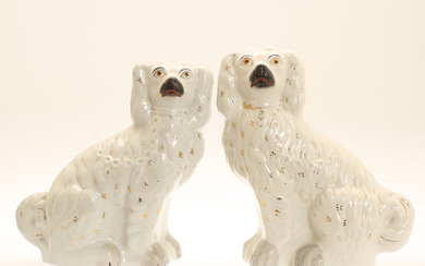 FIGURES, 2 pieces, dogs, flint, Staffordshire, England, early 20th century.