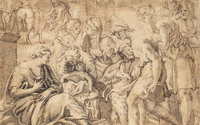 FLEMISH SCHOOL, LATE 16th / EARLY 17th CENTURY Adoration of...