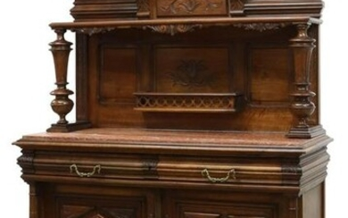 FRENCH HENRI II STYLE MARBLE-TOP WALNUT SERVER
